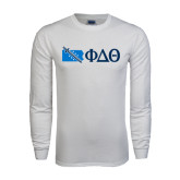 White Long Sleeve T Shirt-Pennsylvania w/ Greek Letters