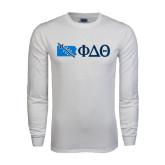 White Long Sleeve T Shirt-Pennsylvania w/ Greek Letters