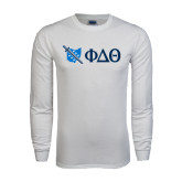 White Long Sleeve T Shirt-Ohio w/ Greek Letters
