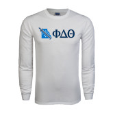 White Long Sleeve T Shirt-Missouri w/ Greek Letters