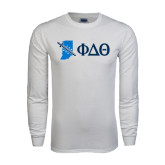 White Long Sleeve T Shirt-Indiana w/ Greek Letters