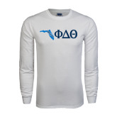White Long Sleeve T Shirt-Florida w/ Greek Letters