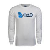 White Long Sleeve T Shirt-Georgia w/ Greek Letters