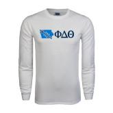 White Long Sleeve T Shirt-Iowa w/ Greek Letters