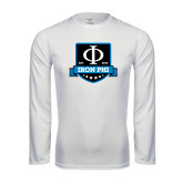 Performance White Longsleeve Shirt-Iron Phi Shield