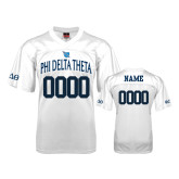Replica White Adult Football Jersey-Phi Delta Theta Name and Bond Number