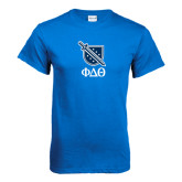 Royal T Shirt-Stacked Shield/Phi Delta Theta Symbols
