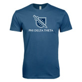 Next Level SoftStyle Indigo Blue T Shirt-Stacked Shield/Phi Delta Theta