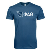 Next Level SoftStyle Indigo Blue T Shirt-Shield/Phi Delta Theta Symbols