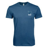Next Level SoftStyle Indigo Blue T Shirt-Stacked Shield/Phi Delta Theta Symbols