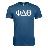 Next Level SoftStyle Indigo Blue T Shirt-Phi Delta Theta Symbols