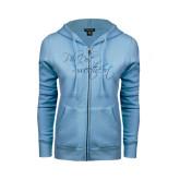ENZA Ladies Light Blue Fleece Full Zip Hoodie-Phi Delt Sweetheart Foil Script