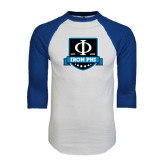 White/Royal Raglan Baseball T Shirt-Iron Phi Shield