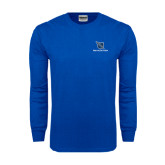 Royal Long Sleeve T Shirt-Stacked Shield/Phi Delta Theta