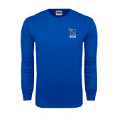 Royal Long Sleeve T Shirt-Stacked Shield/Phi Delta Theta Symbols