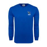 Royal Long Sleeve T Shirt-Stacked Shield/Phi Delta Theta Symbols