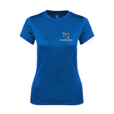 Ladies Syntrel Performance Royal Tee-Stacked Shield/Phi Delta Theta