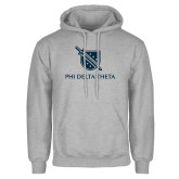 Grey Fleece Hoodie-Stacked Shield/Phi Delta Theta