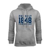 Grey Fleece Hoodie-Athletic Founders Day Design