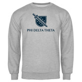 Grey Fleece Crew-Stacked Shield/Phi Delta Theta