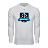 Under Armour White Long Sleeve Tech Tee-Iron Phi Shield