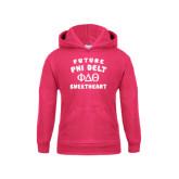 Youth Raspberry Fleece Hood-Future Phi Delt Sweetheart