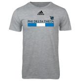 Adidas Sport Grey Logo T Shirt-Phi Delta Theta Bar w/ Logo