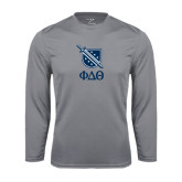 Performance Steel Longsleeve Shirt-Stacked Shield/Phi Delta Theta Symbols
