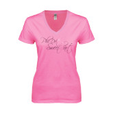 Next Level Ladies Junior Fit Ideal V Pink Tee-Phi Delt Sweetheart Foil Script