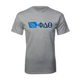 Sport Grey T Shirt-Iowa w/ Greek Letters