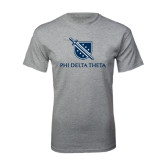 Grey T Shirt-Stacked Shield/Phi Delta Theta
