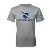 Grey T Shirt-Stacked Shield/Phi Delta Theta