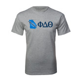 Sport Grey T Shirt-Georgia w/ Greek Letters
