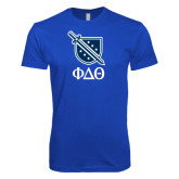 Next Level SoftStyle Royal T Shirt-Stacked Shield/Phi Delta Theta Symbols