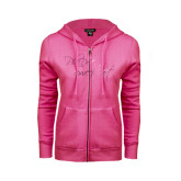 ENZA Ladies Fuchsia Fleece Full Zip Hoodie-Phi Delt Sweetheart Foil Script