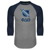 Grey/Navy Raglan Baseball T Shirt-Stacked Shield/Phi Delta Theta Symbols