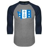 Grey/Navy Raglan Baseball T Shirt-Washington