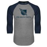 Grey/Navy Raglan Baseball T Shirt-Stacked Shield/Phi Delta Theta