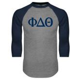 Grey/Navy Raglan Baseball T Shirt-Phi Delta Theta Symbols