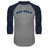 Grey/Navy Raglan Baseball T Shirt-Phi Delt Arc
