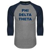 Grey/Navy Raglan Baseball T Shirt-Phi Delta Theta Stacked