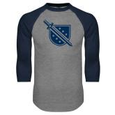 Grey/Navy Raglan Baseball T Shirt-Sword and Shield