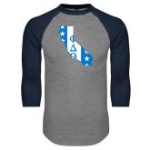 Grey/Navy Raglan Baseball T Shirt-California