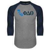 Grey/Navy Raglan Baseball T Shirt-California w/ Greek Letters