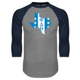 Grey/Navy Raglan Baseball T Shirt-Texas