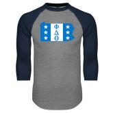 Grey/Navy Raglan Baseball T Shirt-Pennsylvania