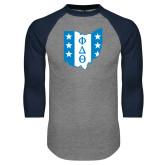 Grey/Navy Raglan Baseball T Shirt-Ohio