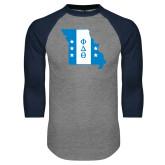 Grey/Navy Raglan Baseball T Shirt-Missouri