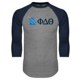 Grey/Navy Raglan Baseball T Shirt-Missouri w/ Greek Letters