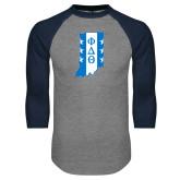 Grey/Navy Raglan Baseball T Shirt-Indiana